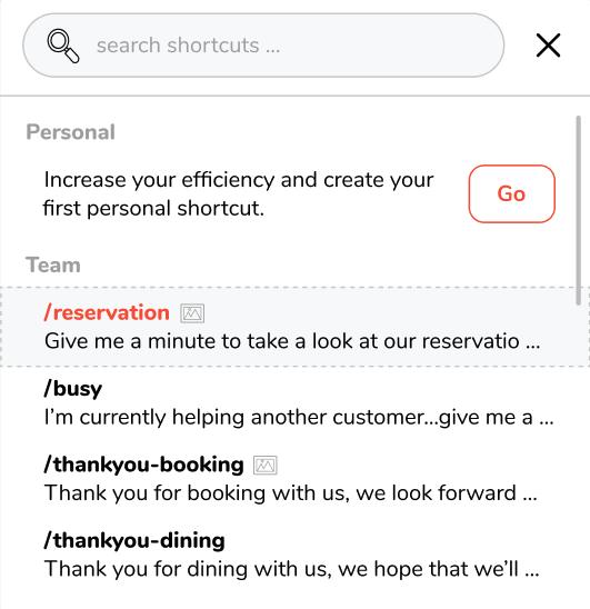 message templates shortcuts